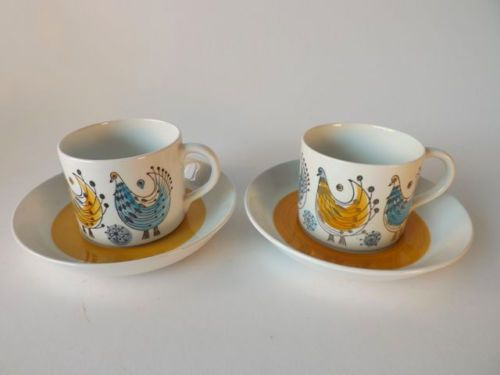 Pair Rorstrand Fenix Cups with Saucers EXC Cond | eBay