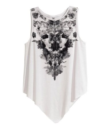 Sleeveless, draped top in jersey with an asymmetric, raw-edge hem.   H&M Divided