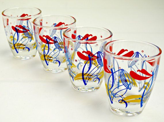 Set of 4 Vintage MultiColoured Shot Glasses by GoodnightPrudence, £10.00