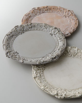 Baroque Charger Plate - Horchow  From horchow.com chalk paint on silver trays would work
