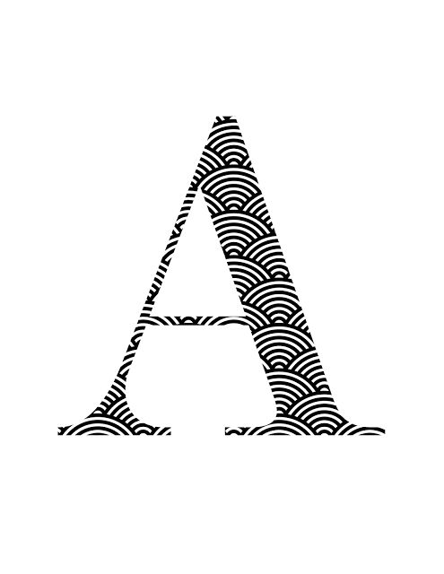 scallop black and white oh so lovely blog monogram