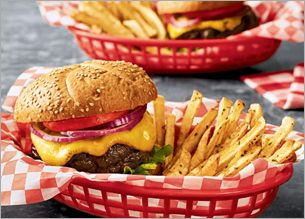 burgers and fries in a basket