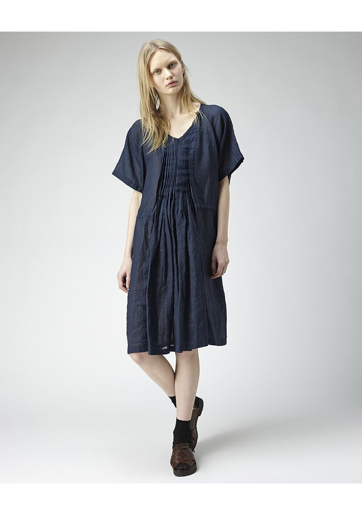 Zucca / Rammy Lawn Dress | La Garçonne. Rammy Lawn Dress by Zucca.  Oversized, lightweight linen dress with short, raglan sleeves, drawstring waist & sharp knife pleat detail.