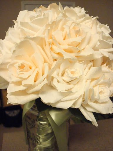 Coffee Filter Flower  Pic heavy tutorial with tips :  wedding bouquet ceremony coffee filter flowers diy flowers paper flowers pew decorations purple white DSC02538