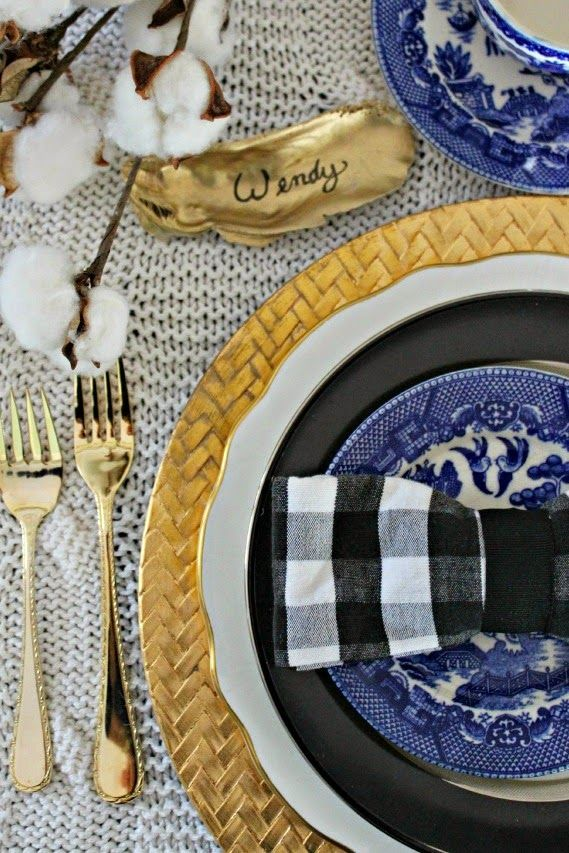 Southern Thanksgiving Table Setting- Gold, Blue, Black Gingham, Cotton Stalk and Painted Oyster Shell. Perfection!