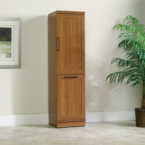 Narrow Storage Cabinet W Recycle Bin Trash Can Holder