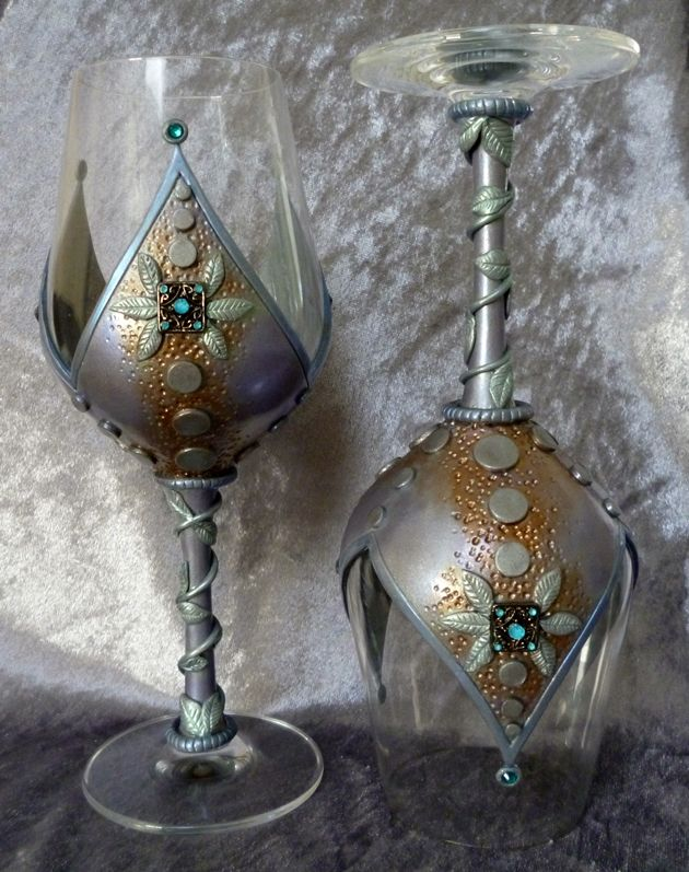 Medieval-style, polymer decorated wine glasses by Melody Tallon.
