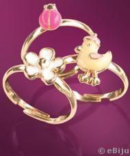 Hármas gyűrű szett kislányoknak: virág, kiscsibe és katicabogár