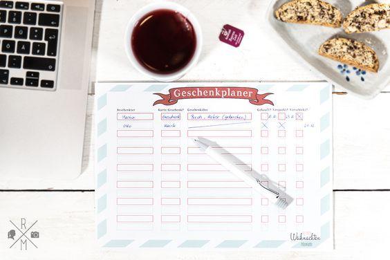 Geschenkplaner - Übersicht über alle Weihnachtsgeschenke zum kostenlosen Download | relleomein.de