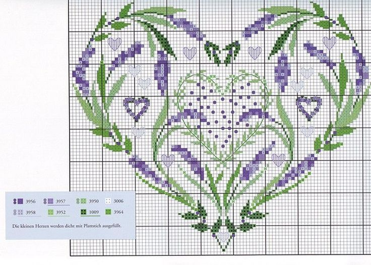 lavender heart cross stitch