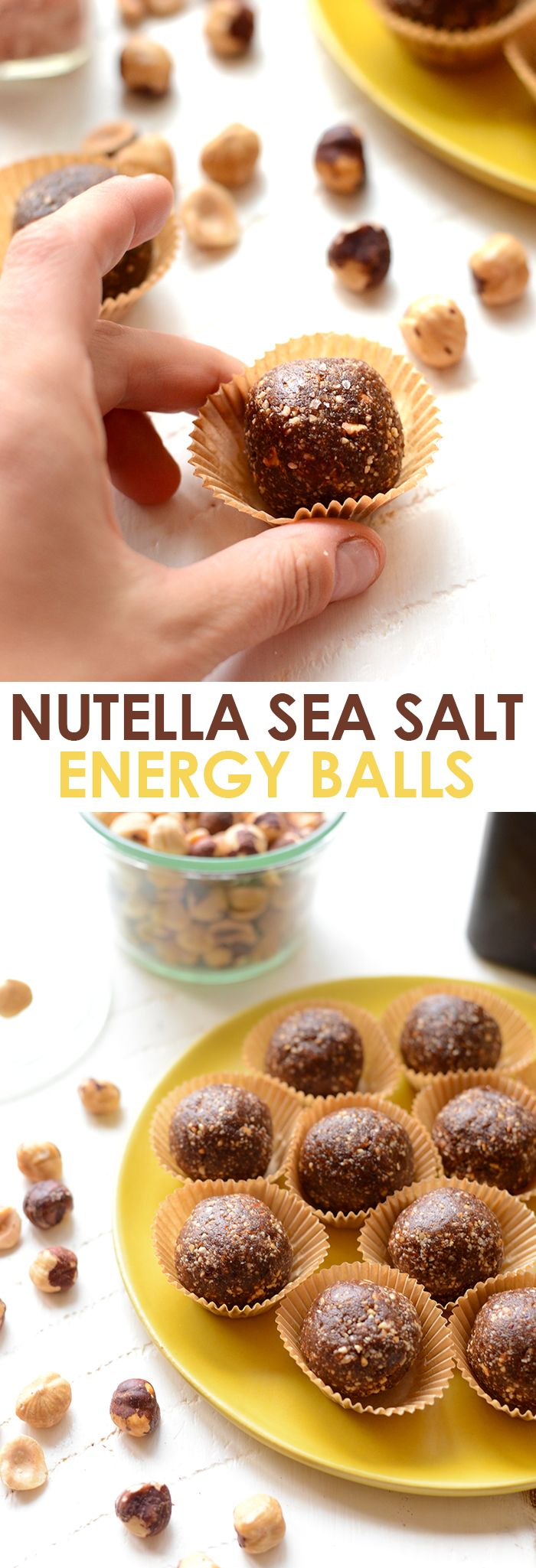 Who doesn't love Nutella and sea salt? Make these healthy energy balls made from hazelnuts, cocoa powder, dates, and sea salt for a guilt-free snack!
