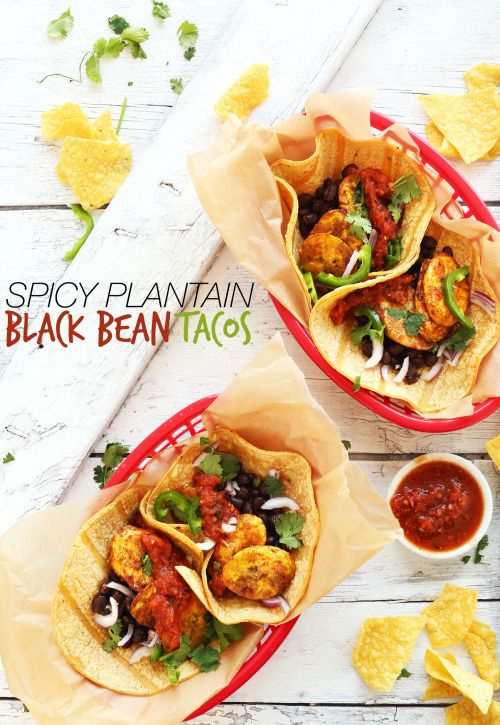SPICY PLANTAIN BLACK BEAN TACOS | #gluten free and #diary free and #vegan