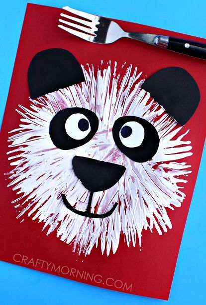 Fork Print Panda Bear Kids Craft - Crafty Morning - http://www.training-a-puppy.info/fork-print-panda-bear-kids-craft-crafty-morning/