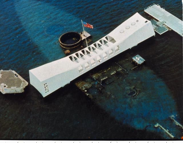 USS Arizona Memorial ship at Pearl Harbor http://architecture.about.com/od/greatbuildings/ig/Monuments-and-Memorials/The-USS-Arizona-Memorial-.htm