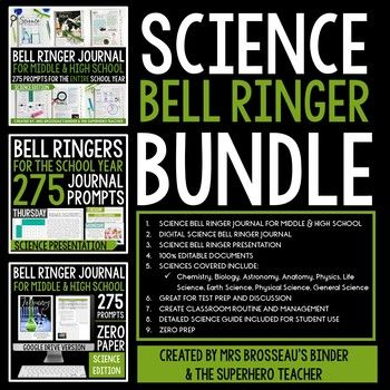 Science bell ringer journal, presentation, and Google Drive journal for the entire school year including 275 journal prompts for middle and high school students. This product provides teachers with an entire school year of science-themed journal prompts in an organized and focused way.