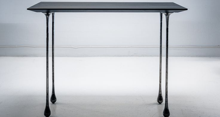 Black Chrome is a desk by Ateljé Sotamaa. The top is solid birch and legs milled steel.