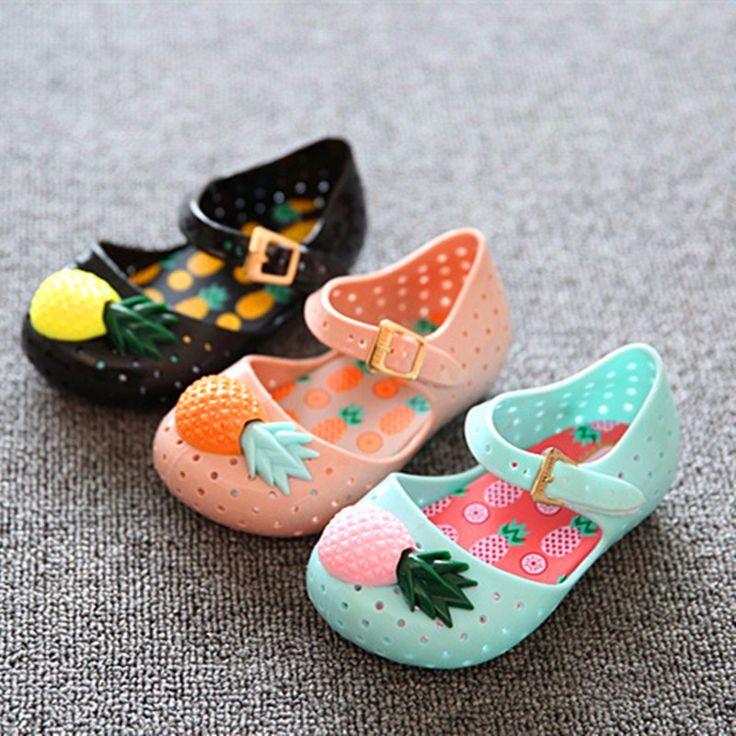 Mini Melissa Shoes 2016 Summer Cartoon Girls Sandals Cute Sandals for girls Children Shoes For Girl shoes Kids Cute pineapple (3)