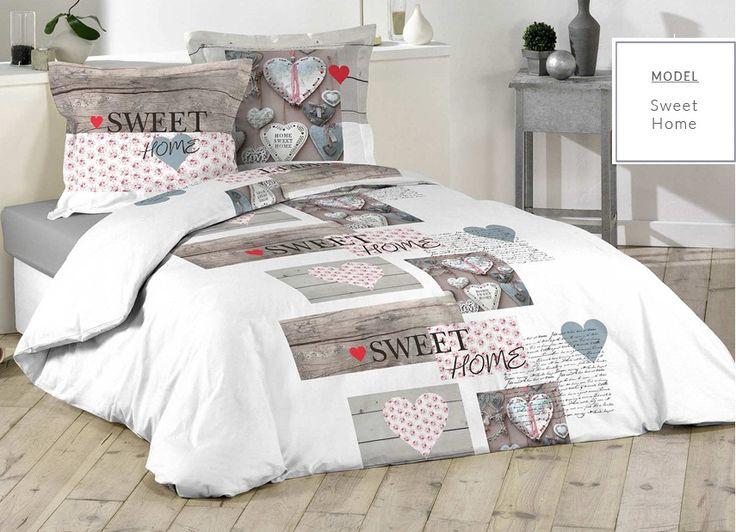 Bavlnené biele posteľné návliečky Sweet Home