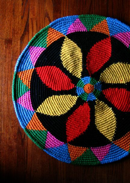 crocheted hex sign rugs...now this is beautiful!  just look at those colors!