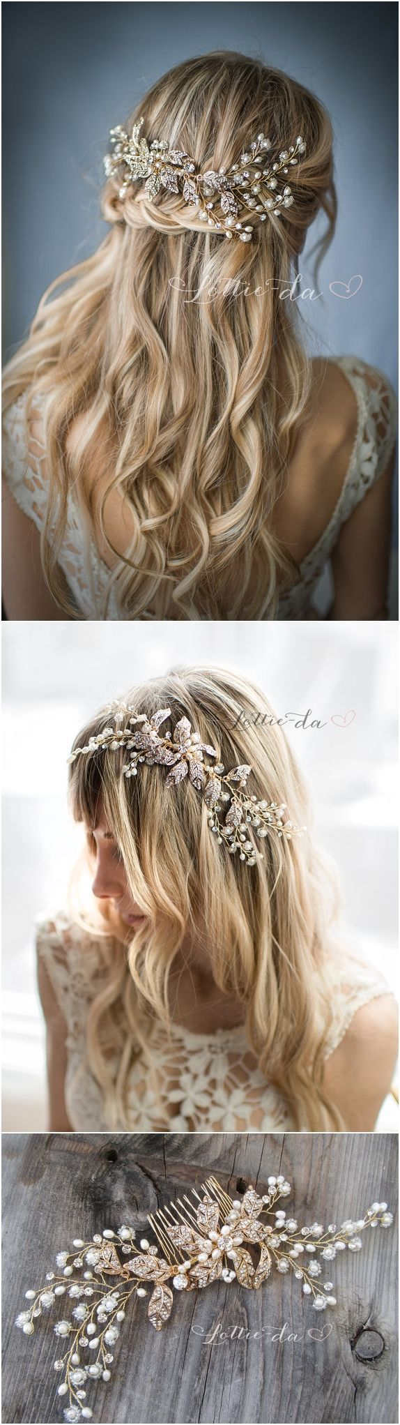Wedding Hairstyles : Boho Gold Flower Leaf Hair Vine Wedding Headpiece Wire Wedding Hair comb Weddi