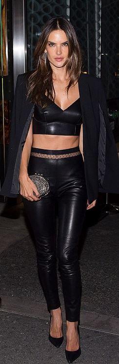 Alessandra Ambrosio: Purse – Christian Louboutin  Bracelet – Cartier  Pants – Noam Hanoch  Shoes – Saint Laurent