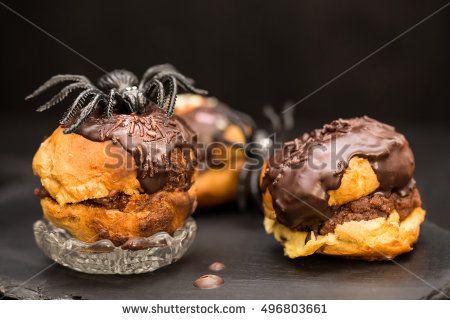 halloween cream puffs with dark chocolate stuffing