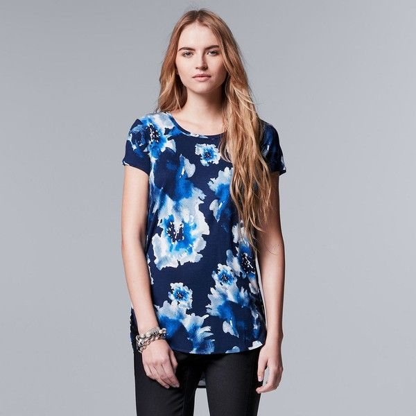 Women's Simply Vera Vera Wang Print High Low Hem Tee ($18) ❤ liked on Polyvore featuring tops, t-shirts, dark blue, crew t shirts, multi color t shirts, crewneck t shirt, pattern t shirt and jersey tee