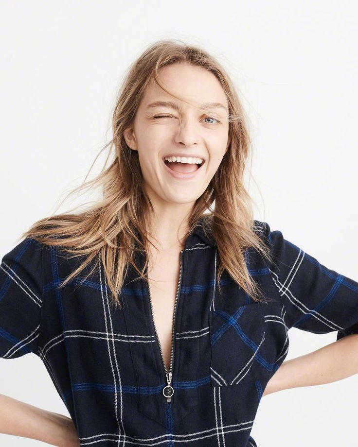 A&F Women's Half-Zip Plaid Shirt Dress in Navy Blue - Size XL Petite
