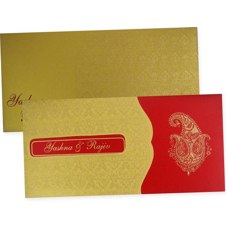Emboss Design And Gold Color Pocket Wonderful Hindu Wedding Invitation Card
