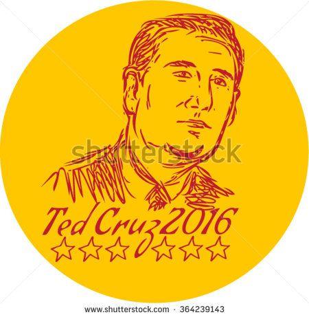 Jan. 19, 2016: Drawing sketch style illustration showing head of Rafael Edward Ted Cruz, an American senator, politician and Republican 2016 presidential candidate.  - stock vector #Cruz2016 #sketch #illustration