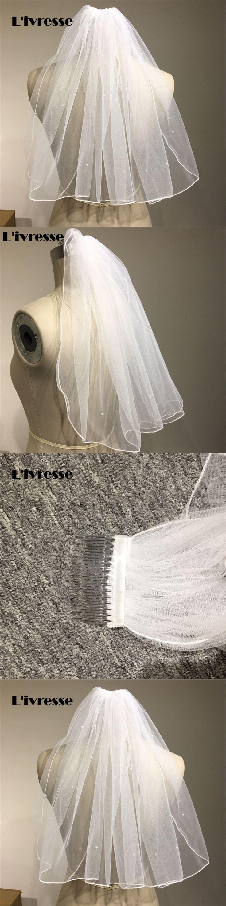 Short Bridal Veils Comb Cheap White Wedding Accessories With Pearls Simple Velos De Novia Voile Mariage New Arrival Pencil