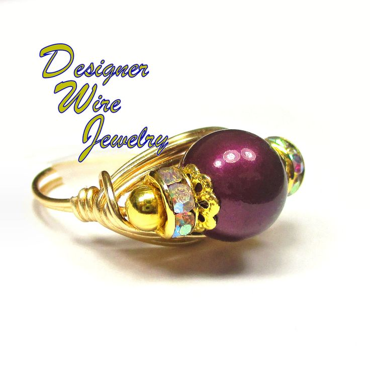 Stunning Swarovski Blackberry Pearl Artisan Gold Tone Wire Wrap Ring All Sizes