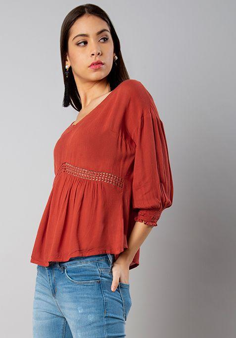 5851032922c23 Rust Crochet Insert V-neck Top -