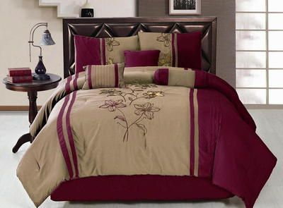 19 Pc Comforter Curtain Sheet Set Burgundy Tan Brown King Size Bed In A Bag New Ebay Bedroom