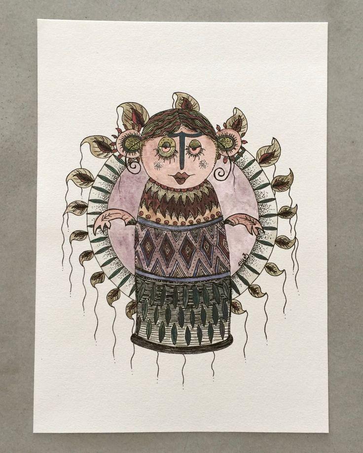 Hoolaleaf Girl Watercolour Giclee A4 Print by TheElfsmialCorner on Etsy