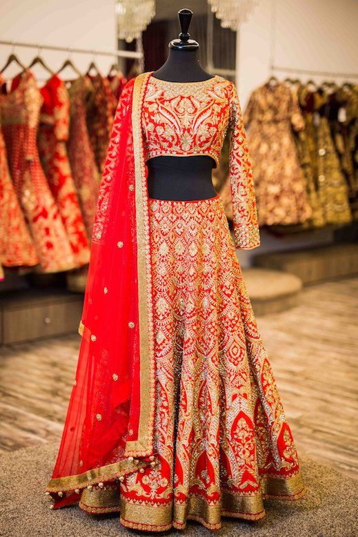 Check out beautiful red bridal lehengas here. Click on image to know the price. #Frugal2Fab