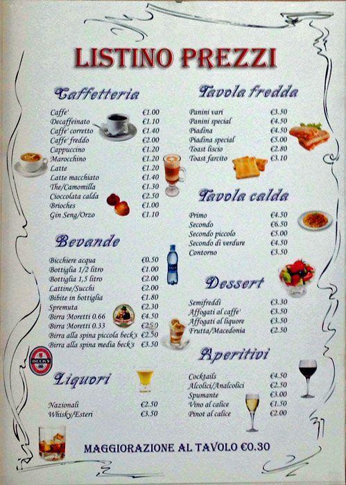 Risultati immagini per listino prezzi bevande bar