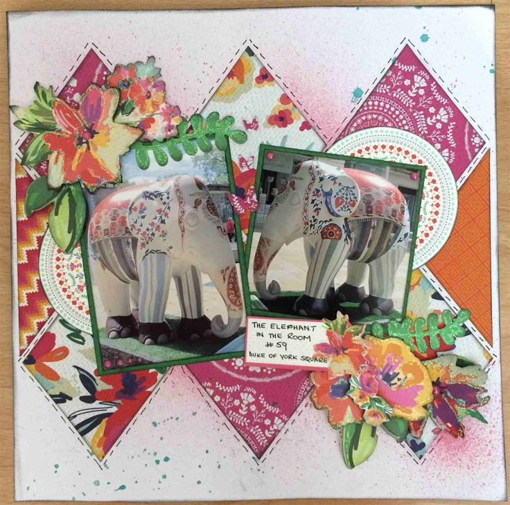 """<p>Hi Everyone, Linda here, hope you are all enjoying the warm (hot?) weather! This month I have had the pleasure of working with the vibrant Fiesta Collection and found this lovely Elephant (from the 2010 London Parade) which perfectly matched them! My inspiration for diamonds came whilst looking though the Collectables and <a href="""" http://www.merlyimpressions.co.uk/blog/project-portfolio/scrapbooking/the-elephant-in-the-room/ """"> …click to read more</a></p>"""