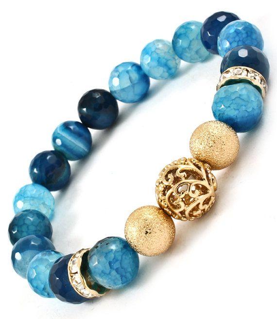 Blue semiprecious agate bracelet