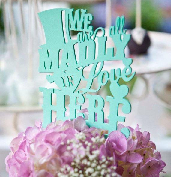 Cake Topper, Alice In Wonderland, Paper, Wedding, Lasercut; Variety Of  Color Options; Custom