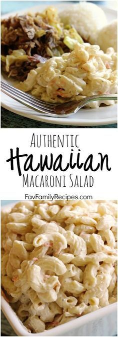 "Authentic Hawaiian Macaroni Salad aka ""Mac Salad"" - When living in Hawaii I ate this all the time, serioulsy, this is the real deal. A no-frills, creamy mac salad that is the perfect side dish for any BBQ or Luau. Replace with vegan mayo and non dairy milk. Voila!"