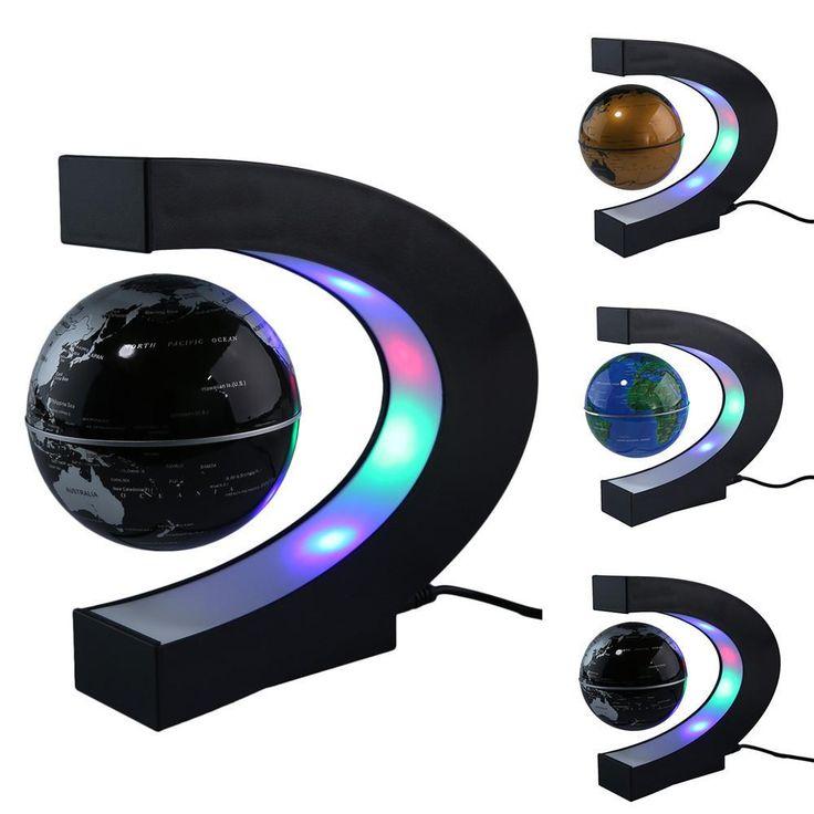 UK/US/EU Plug C Shape LED Tellurion Magnetic Levitation Globe World Map Floating Antigravity Globe With LED Light Home Decor - 10 MINUS