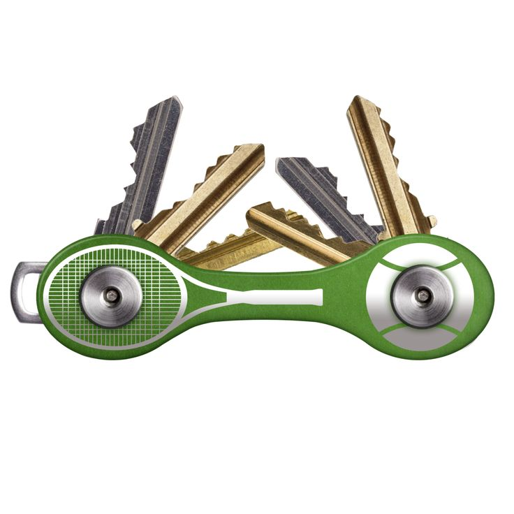 Into tennis? Hate your bulky keys? Beat your key problems six-love with the HandyKey for tennis lovers! It's light, compact, and extremely durable, and the exclusive racquet and ball design is bound to impress your friends over at the tennis club. Best of all, the HandyKey organizer makes your keys accessible, saving you time and frustration and making you less of a criminal target when you open and close doors. Holds 2-8 regular-sized keys and other accessories.