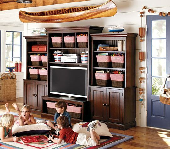 Great tv and toy storage idea