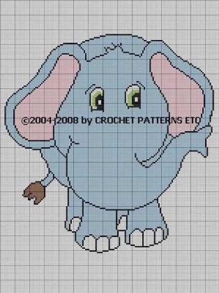 CROCHET PATTERN AFGHAN GRAPH BABY ELEPHANT CHART E-MAILED.PDF | crochetpatternsetc - Patterns on ArtFire