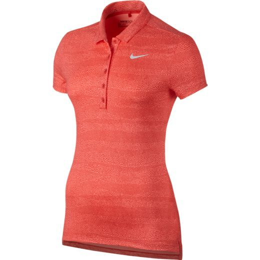Max Orange/Lava Glow Nike Ladies Precision Zebra Print Golf Polo Shirt. Find more dri-fit ladies outfits at #lorisgolfshoppe