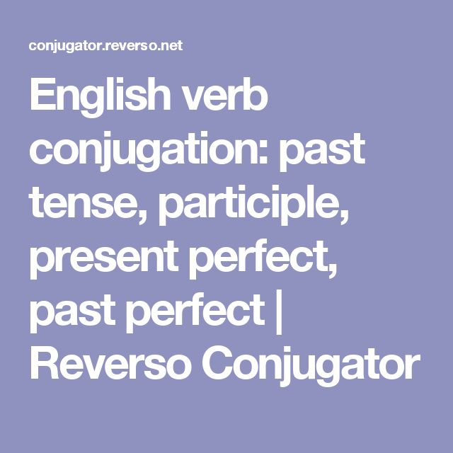 English verb conjugation: past tense, participle, present perfect, past perfect | Reverso Conjugator