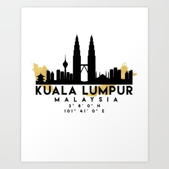 KUALA LUMPUR MALAYSIA SILHOUETTE SKYLINE MAP ART - The beautiful silhouette skyline of Kuala Lumpur and the great map of Malaysia in gold, with the exact coordinates of Kuala Lumpur make up this amazing art piece. A great gift for anybody that has love for this city.  graphic-design digital typography illustration vector kuala-lumpur malaysia downtown silhouette skyline map coordinates souvenir gold deificus-art
