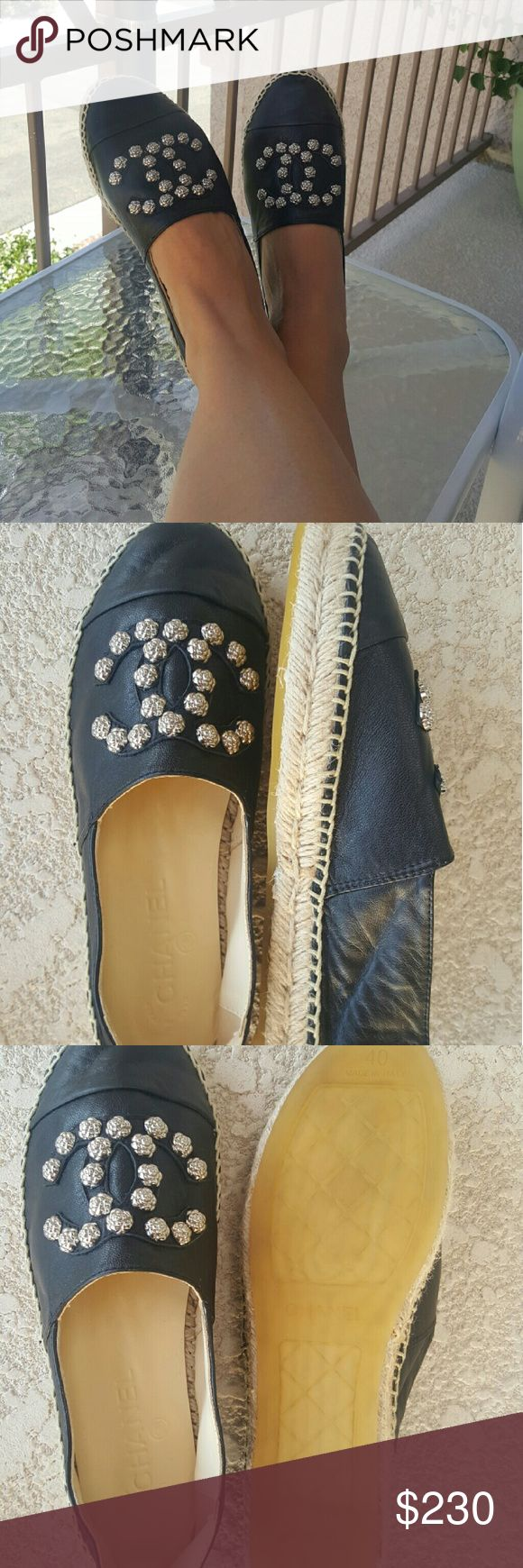 Chanel Black Leather Silver Studded Espadrilles Like new Chanel Black Lambskin Silver Studded Espadrilles Flats.Very soft and comfortable. Size 40 but run smaller. Best suitable for US 8.5  Purchased online and not sure of authenticity. No box CHANEL Shoes Espadrilles