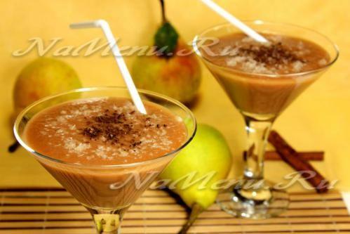 Шоколадно-банановый смузи с грушей